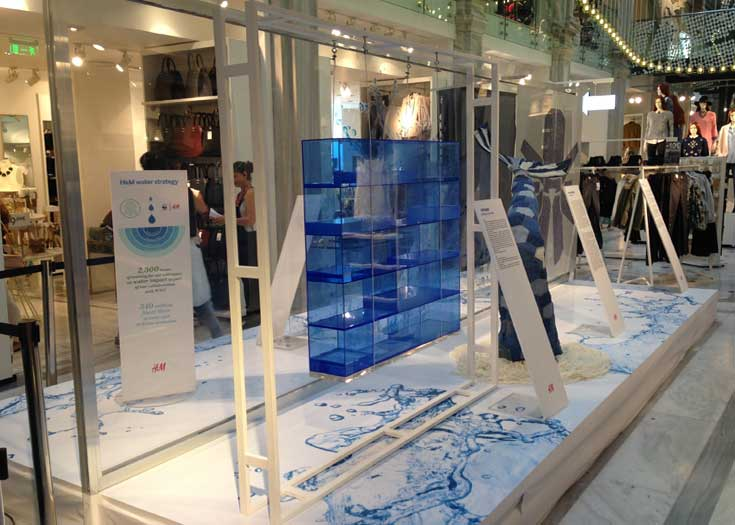 H&M - seal the water - denim installation / go green wear blue (water, perspex, steel, wire)