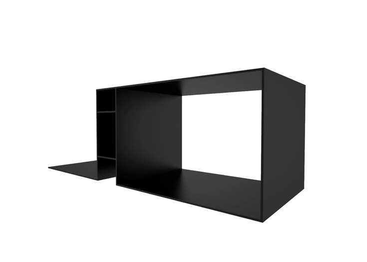 black desk - black corian - 240x80x78cm - unique piece
