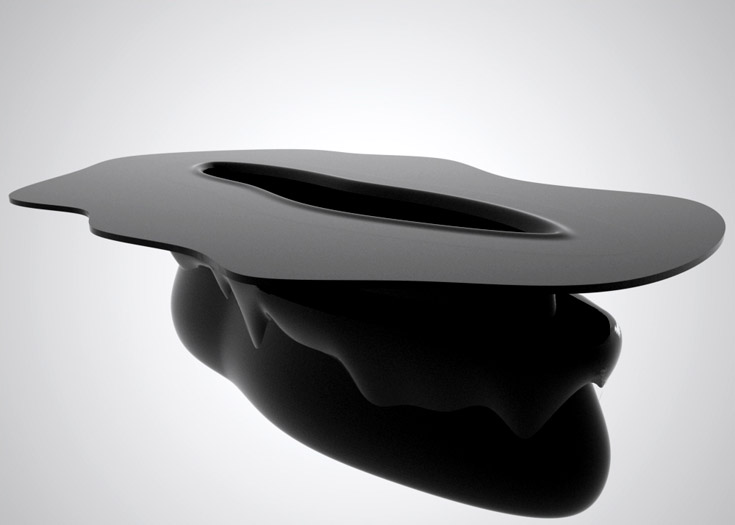black hole table - concrete and plastic - 300x210x80cm - limited edition (7pieces) - collaboration with fellow architect jose paixao